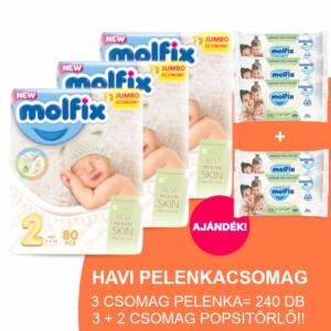 Molfix Havi pelenkacsomag 3+2 csomag zöld popsitörlővel! (2-es) 3 - 6 kg